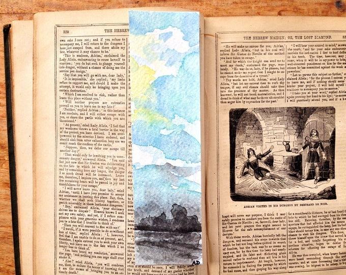 Skyscape Watercolour Bookmark, Handpainted, pagemarker, original artwork