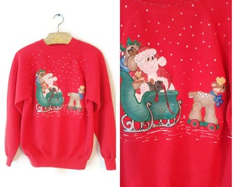 Ugly Christmas Sweatshirt Sweater size L/XL hand painted Santa and Reindeer sleigh