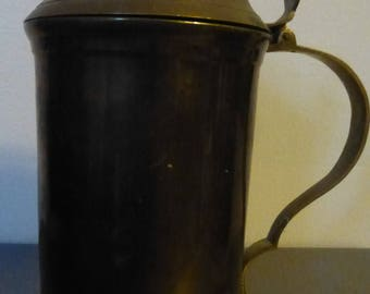 Solid Brass 24 ounce Beer Stein - Rugged Form with Duck Finial on Lid - Great Storage or Display Item for the Duck Lover
