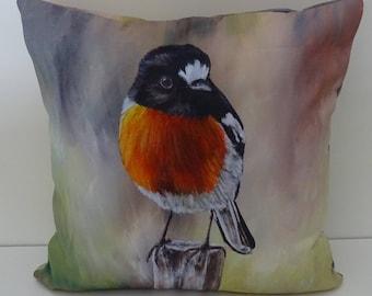 Decorative Throw Pillow Cushion Cover Australian Bird Art Wildlife Colorful Throw Fine Art Home Decor Scarlet Robin