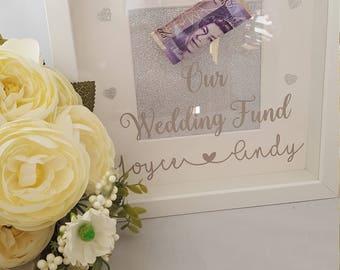 Personalised Wedding Fund Money Box Frame, Engagement Gift,