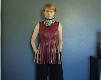 90's Red leather fringe vest