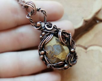 Copper Wire Wrapped pendant FREE SHIPPING, jasper .