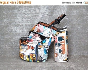 35off Vtg 90s Luichiny Comic Club Kids Monster Platform Sandals Shoes 7