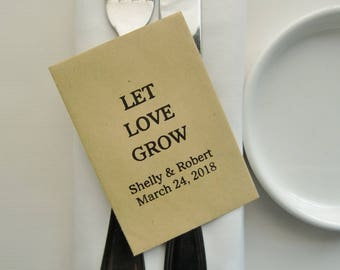 Wedding Seed Packet Favors-Wedding Favors-Kraft Packets-LET LOVE GROW-Personalized-Rustic Wedding-Wedding Reception-Wedding Favor Ideas