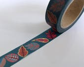 "SALE Floral Washi Tape ""BIG Funky Leaves""  15mm x 10 Meters"