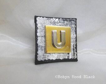 Letter U Silver and Gold Vintage Metal Letter Magnet 2 X 2