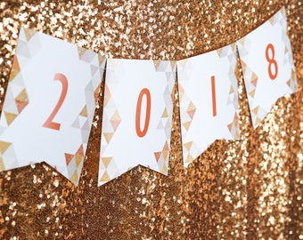 New Years Eve Party Banner - Gold Glitter New Years Party Banner - Instant Download and Edit with Adobe Reader - Print at Home!