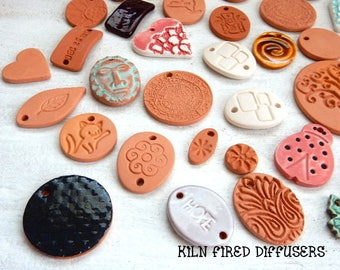 50 REDUCED PRICE Sale imperfect & discontinued Diffuser Necklace Pendant Pebbles Aromatherapy Essential Oil Clay Jewelry Irregular Sample