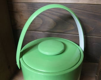 Ice Bucket-Glossy Green Ice Bucket-Vinyl Ice Bucket and Tongs-Retro Ice Bucket-Barware-retro barware-Plastic Ice Bucket-Bar Accessory