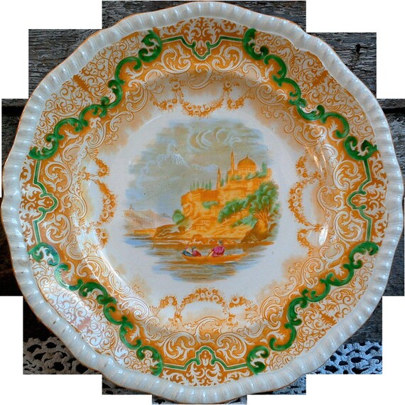 Yellow China Plate, Copeland Spode, Yellow and Green Ironstone, Yellow Transferware, Old Dishes, Handpainted, China Plate, Yellow China