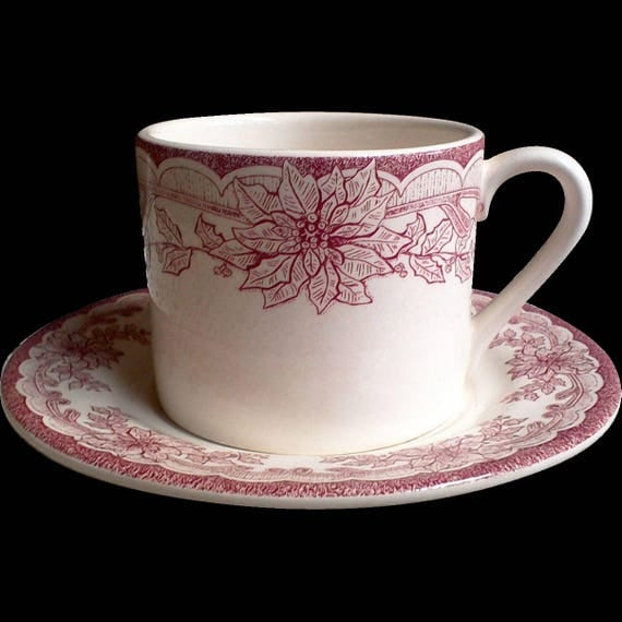 Christmas Tea Cup and Saucer Set, Red and White Dishes, Red China, White China, Old Dishes, Yuletide Staffordshire