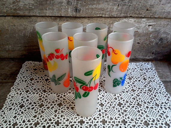 Federal Frosted Tom Collins tall glasses - Fruit Motif - Set of 8 - 1950-60's era