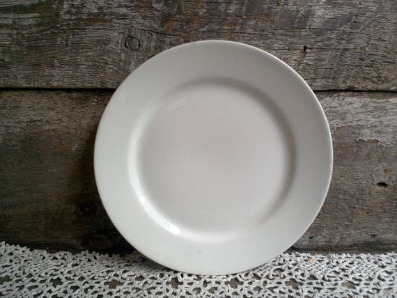 """White Ironstone Plate, T & R Boote, England, Antique Plain White Luncheon Side Plate, French Country, Farmhouse Decor, Rustic, 8 5/8"""""""