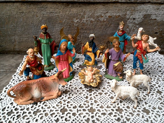 Vintage nativity set depose italy figurines christmas decor christmas gift housewarming gift religious gift wedding gift anniversary gift