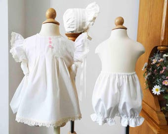 Handmade Heirloom Style Vintage Baby Toddler Pinafore, Sundress, Bonnet, Bloomers, Classic, Infant Heirloom Sundress
