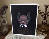 Bat greeting card, Victorian inspired art, spooky card, goth greeting card