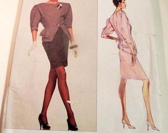 "SALE 1980s Emanuel Ungaro Oversized jacket shoulder pads peplum Bias skirt sewing pattern Vogue Paris Original 2309 Size 6 8 Bust 30.5 31.5"""