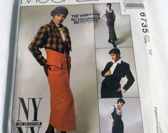 "SALE 1990s Jumpsuit Jumper Dress Bolero and Blouse sewing pattern NY NY Collection McCalls 6735 Size 10 Bust 32.5"" Uncut"