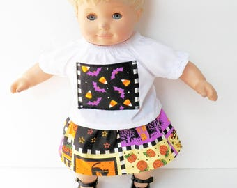 """16"""" Cabbage Patch Kids or bitty baby clothes, 15"""" doll, or 18"""" doll, handmade by adorabledolldesigns, halloween, white blouse, skirt, black"""
