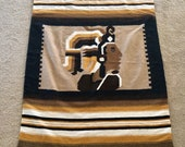 vintage Mexican blanket Aztec warrior head boho throw mustard yellow and browns