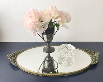vintage Matson mirrored vanity tray or wall mirror gold rose handles