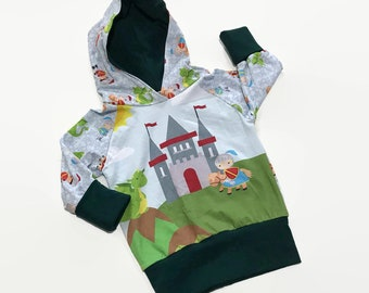 Grow With Me Hoodie - 9m - 3t - Knights and Dragons - Lightweight Hoodie