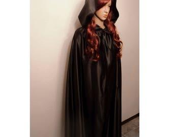 Wonder Woman Black Satin Hooded cloak, Renaissance costume cape