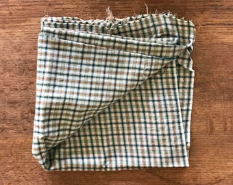 Remnant of Plaid Wool in Green and Tan