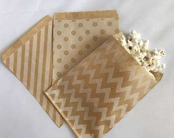 Vintage Goodie Bags-Kraft Striped, Polka Dot, & Chevron | Candy Buffet | Popcorn | Paper Treat Bags-15 Count