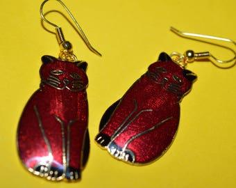 Vintage Cloisonne Enamel Red Cat Earrings 1980s