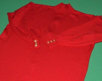 Ports International  Dress Vintage Knit Dress Red  Wool Dress Long Sleeves 1980s
