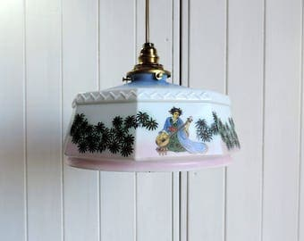 Vintage, stenciled, milk glass ceiling or pendant light with Japanese Geisha and lute