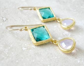 Indicolite and Light Amethyst Drop Earrings Bridesmaid Gift Wedding Earrings, Bridal Jewelry ,Green Dangle Earrings, Gift
