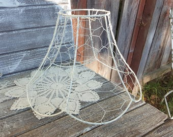 Lampshade wire rings etsy vintage chicken wire jewelry tree ring key caddy swag metal lampshade chippy white chandelier cottage lamp greentooth Images