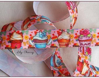 1 meter of Ribbon 22mm kawaii cupcakes pattern