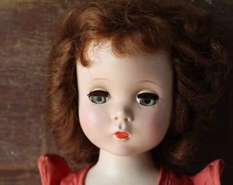 "1950's Madame Alexander Walker Doll, Maggie, Winnie, Cissy, Tagged Dress, 17"" Tall, Arms Unattached"