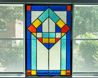 Geometric Stained Glass Panel - Stained Glass Window - Modern Art - Contemporary Stained Glass - Blue Glass - Wedding Gift - Privacy Screen