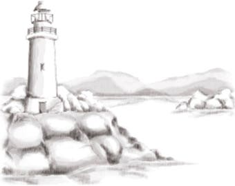 Spellbinders Cling Stamp Lighthouse 3D Stamp