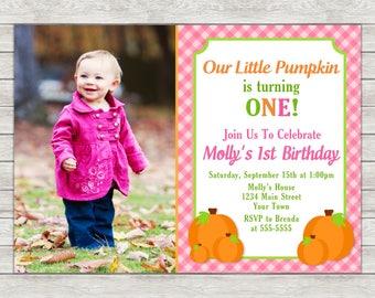 Pumpkin Birthday Invitation, Pink Pumpkin Girl 1st Birthday Invitation - Printable File or Printed Invitations