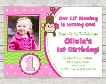 Monkey Girl Birthday Invitation, Pink Monkey Invite, Girl Monkey - Printable File or Printed Invites