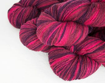 Gradient Aade Long artistic wool, Yarn for knitting, crochet. Fuchsia gradient yarn - pink purple