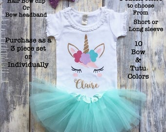 First Birthday Outfit, Girls 1st birthday outfit, Birthdsy Onesie, Girls first birthday shirt, girls unicorn shirt, unicorn birthday party