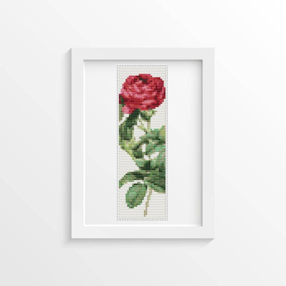 Rose Cross Stitch Kit Rosa Gallica Pontiana Bookmark