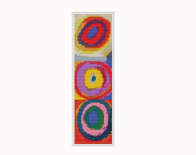 Bookmark Cross Stitch Pattern PDF, Embroidery Chart, Art Cross Stitch, Squares with Concentric Circles by Wassily Kandinsky (BK25)