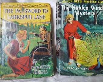 Pair Vintage Nancy Drew Mystery The Password to Larkspur Lane and  The Hidden Window Mystery 1953-58 Edition