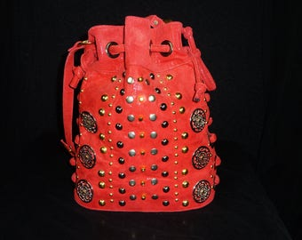 Glam Rock Red Leather Bag