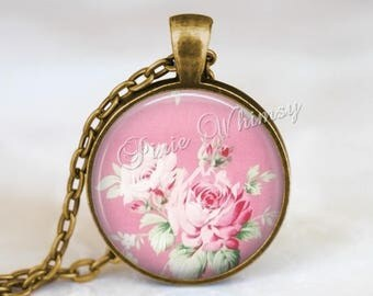 Pink rose jewelry etsy pink rose pendant necklace jewelry or keychain rose necklace pink shabby roses vintage audiocablefo light ideas