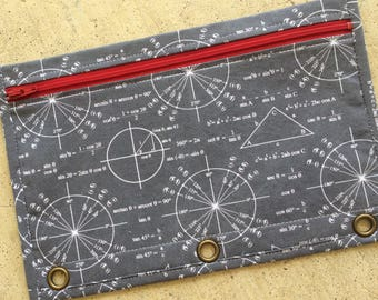 BACK TO SCHOOL : Binder pencil case in trigonometry print with red zip and red lining