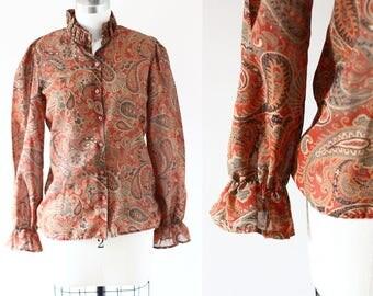 1970s Sheer Paisley Blouse // 1970s Eatons blouse // vintage top